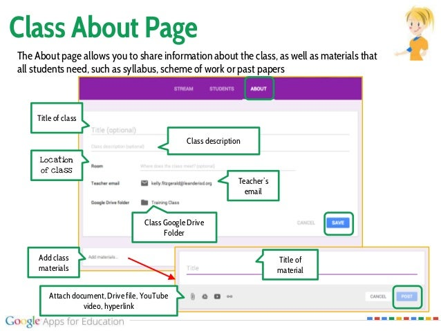 Class About Page The About page allows you to share information about the class, as well as materials that all students ne...