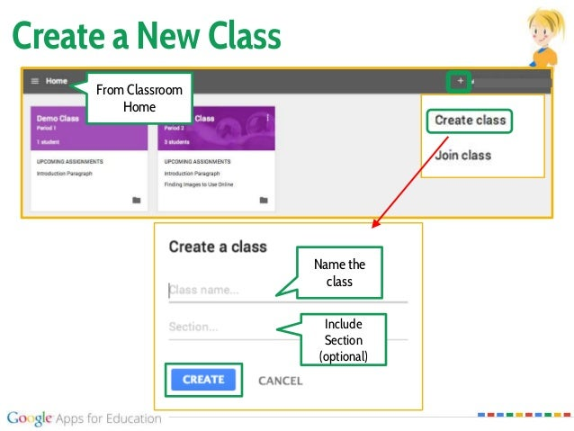 Create a New Class Name the class Include Section (optional) From Classroom Home