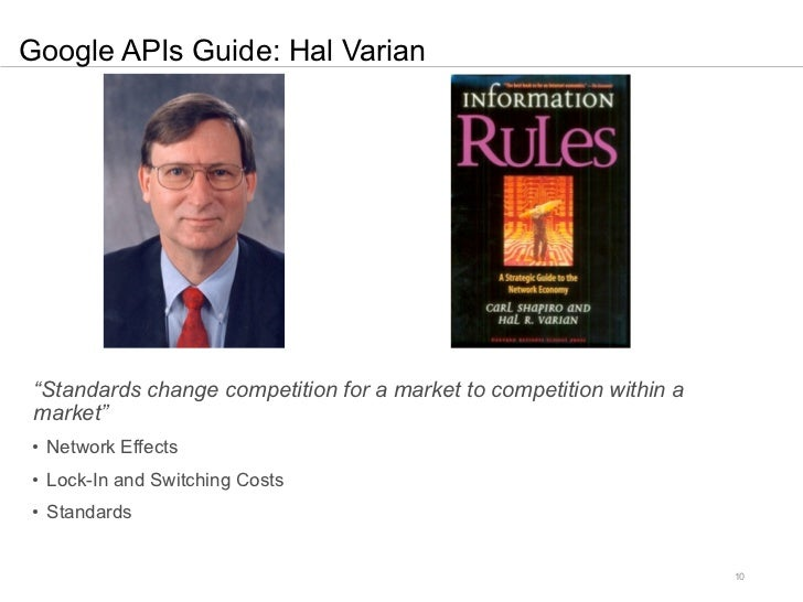 """Google APIs Guide: Hal Varian """"Standards change competition for a market to competition within a market""""• Network Effects•..."""