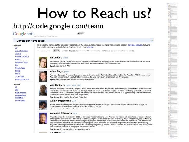 How to Reach us?http://code.google.com/team