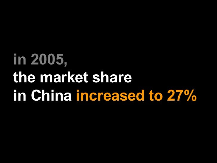 in 2005,   the market share   in China   increased to 27%