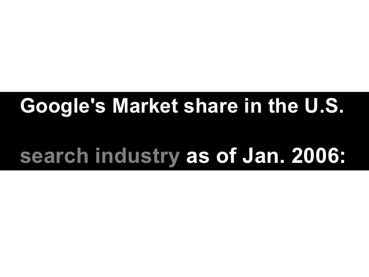 Google's Market share in the U.S. search industry  as of Jan. 2006: