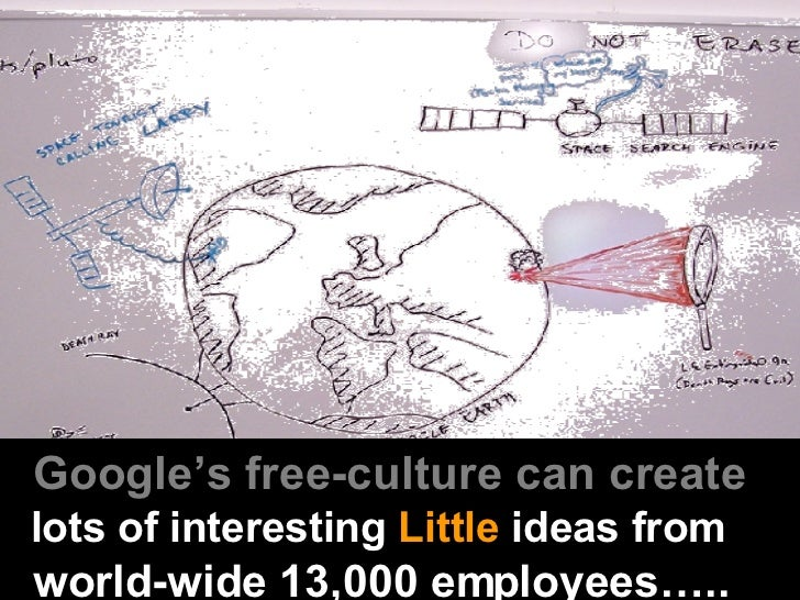 Google's free-culture can create   lots of interesting  Little  ideas from   world-wide 13,000 employees…..