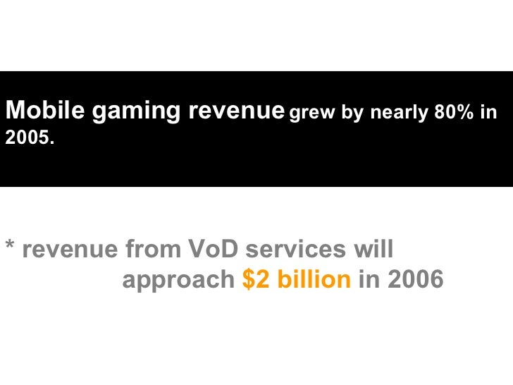 Mobile gaming revenue   grew by nearly 80% in 2005.  * revenue from VoD services will    approach  $2 billion  in 2006