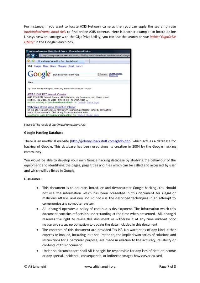 7. Google Hacking by Ali Jahangiri