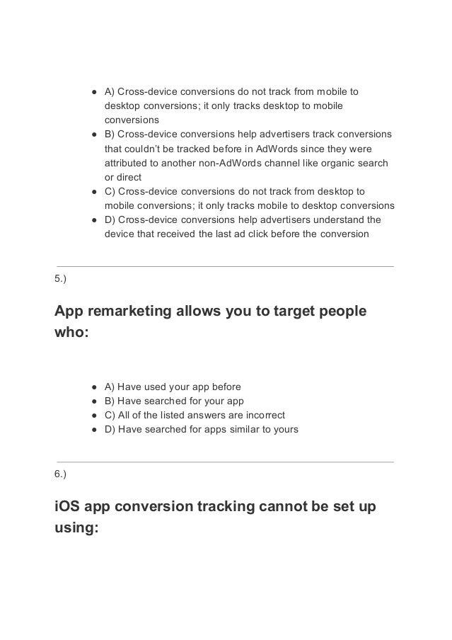 Google Mobile Advertising Exam Answers