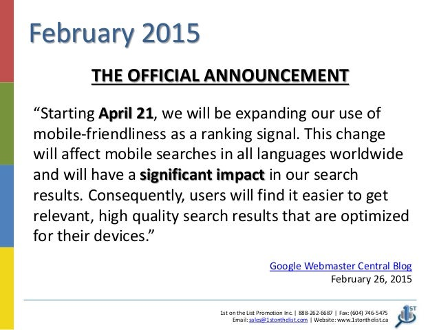 Google Mobile Friendly Website Ranking Update Set for April 21 – Promotion Announcement Email