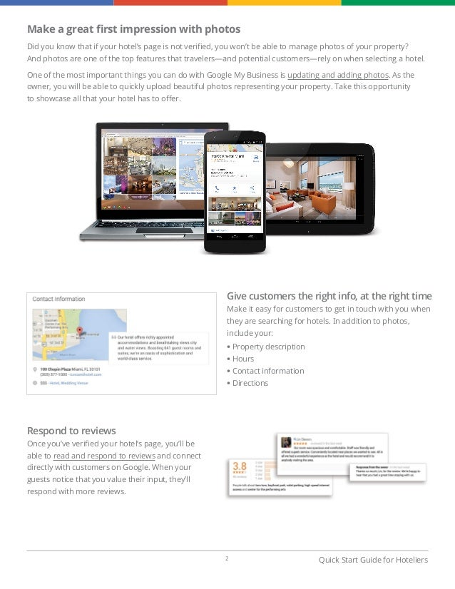 Google my business quick start guide for hotels for Google hotes