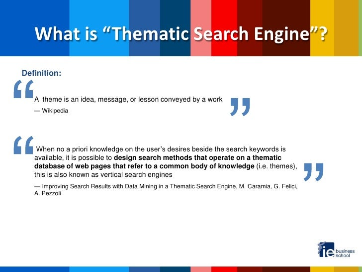 """What is """"Thematic Search Engine""""?Definition:"""