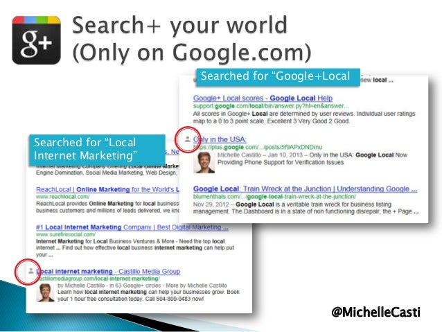 """Searched for """"Google+Local  Searched for """"Local Internet Marketing""""  @MichelleCasti"""