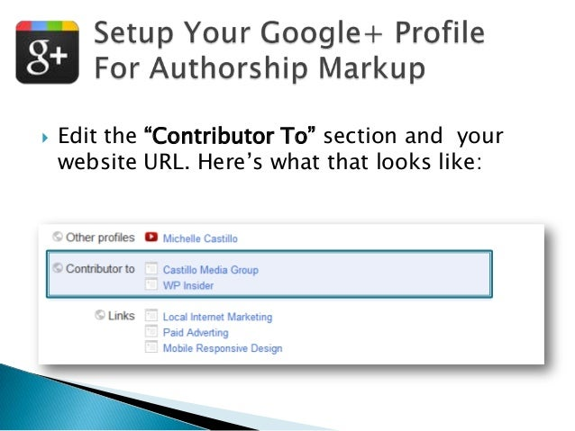 """  Edit the """"Contributor To"""" section and your website URL. Here""""s what that looks like:"""