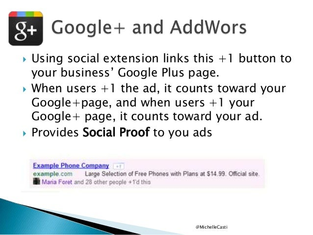 """      Using social extension links this +1 button to your business"""" Google Plus page. When users +1 the ad, it counts t..."""