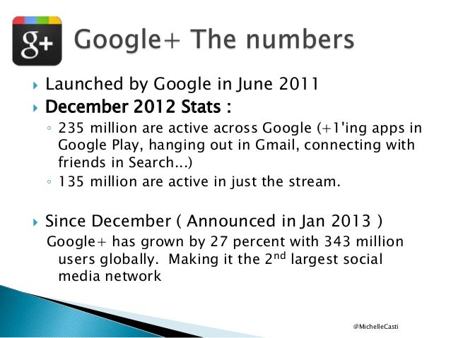    Launched by Google in June 2011 December 2012 Stats : ◦ 235 million are active across Google (+1'ing apps in Google P...