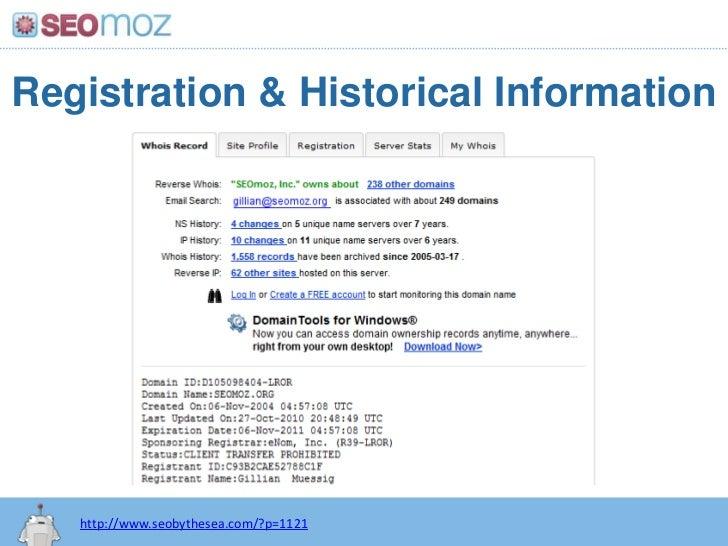 Registration & Historical Information<br />http://www.seobythesea.com/?p=1121<br />