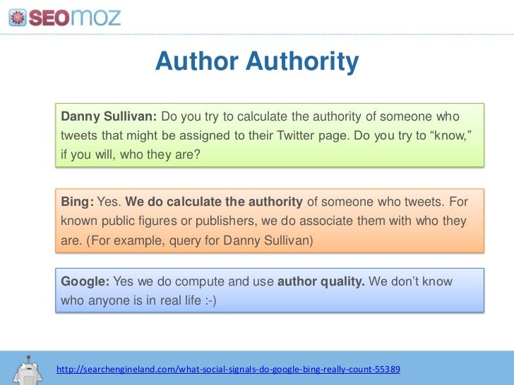 Author Authority<br />Danny Sullivan: Do you try to calculate the authority of someone who tweets that might be assigned t...