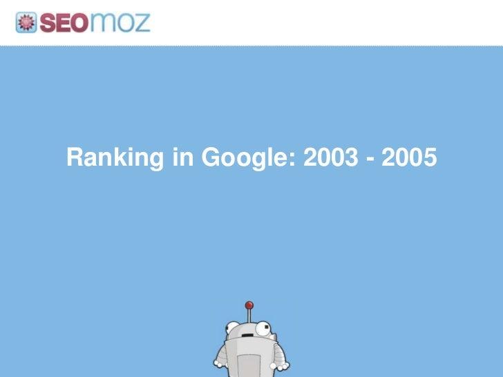 Ranking in Google: 2003 - 2005<br />