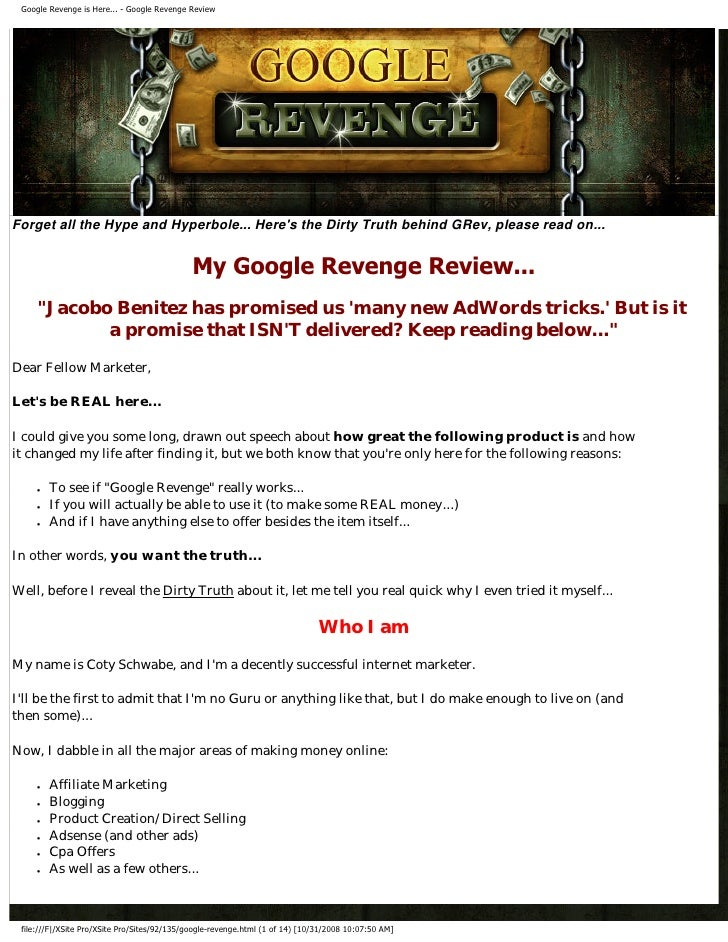 Google Revenge is Here... - Google Revenge Review     Forget all the Hype and Hyperbole... Here's the Dirty Truth behind G...