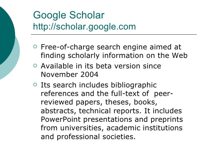a comparison of google scholar and credoreference Google scholar is a freely accessible web search engine that indexes the full text or metadata of scholarly literature across an array of publishing formats and.