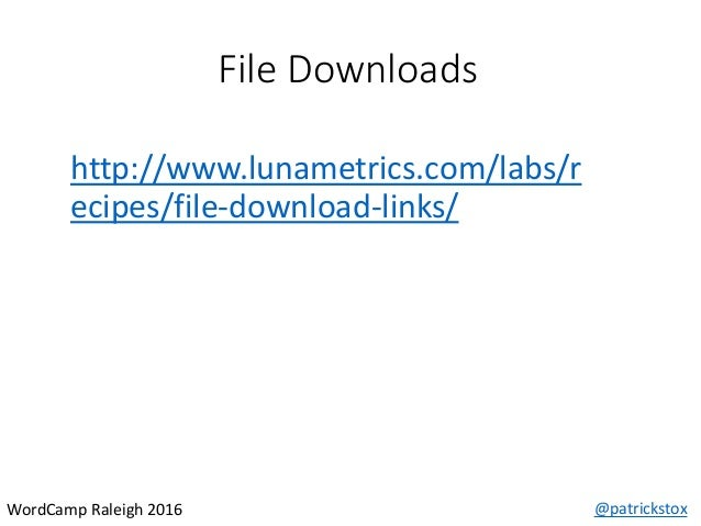 File Downloads @patrickstoxWordCamp Raleigh 2016 http://www.lunametrics.com/labs/r ecipes/file-download-links/