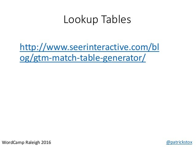 Lookup Tables @patrickstoxWordCamp Raleigh 2016 http://www.seerinteractive.com/bl og/gtm-match-table-generator/