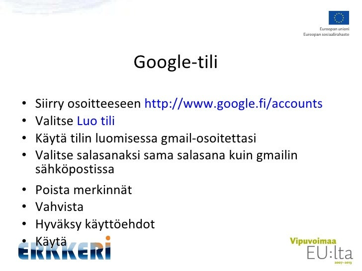 Google Tili Salasana