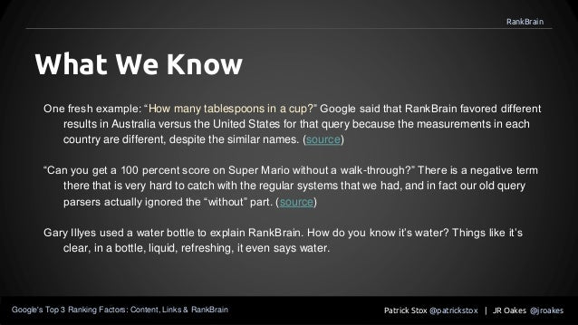 """One fresh example: """"How many tablespoons in a cup?"""" Google said that RankBrain favored different results in Australia vers..."""