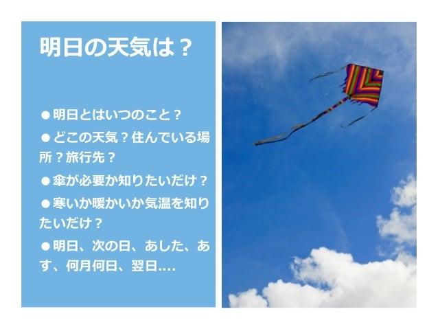 明⽇の天気は? ●明⽇とはいつのこと? ●どこの天気?住んでいる場 所?旅⾏先? ●傘が必要か知りたいだけ? ●寒いか暖かいか気温を知り たいだけ? ●明⽇、次の⽇、あした、あ す、何⽉何⽇、翌⽇....