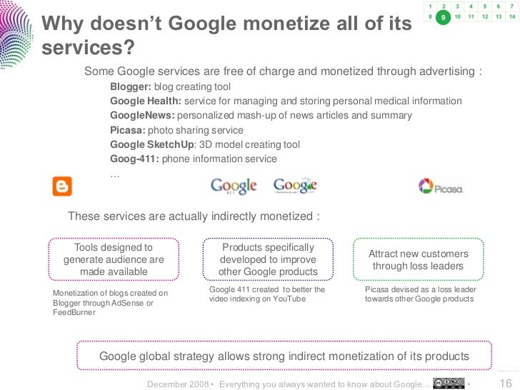 Why doesn't Google monetize all of its                                                            9    services?          ...