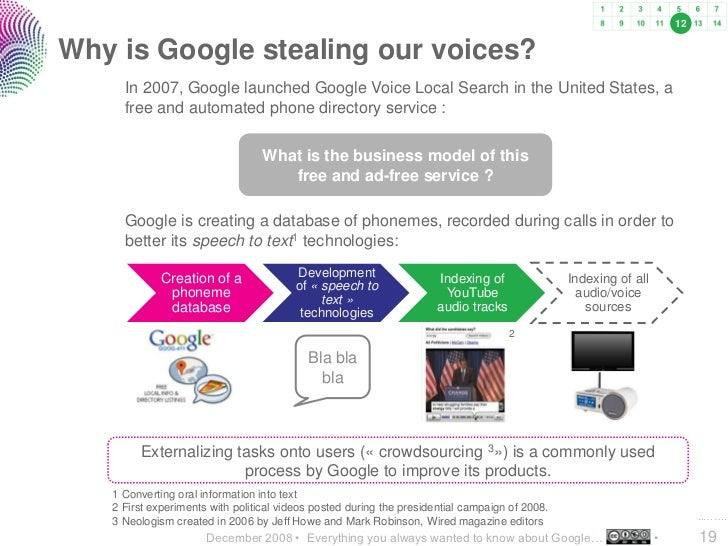 12   Why is Google stealing our voices?      In 2007, Google launched Google Voice Local Search in the United States, a   ...