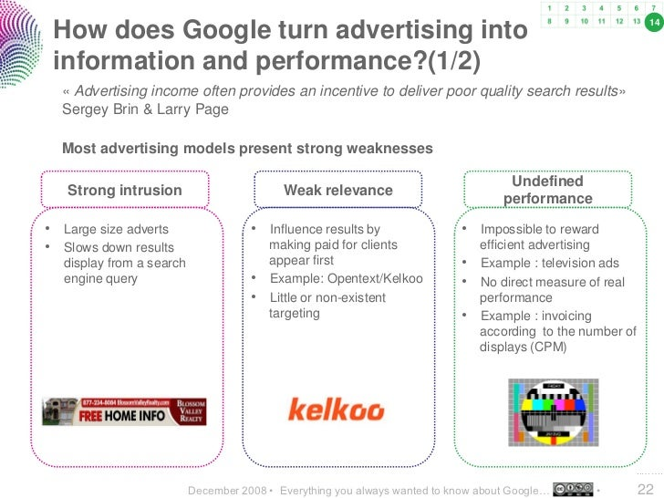 14  How does Google turn advertising into  information and performance?(1/2)   « Advertising income often provides an ince...