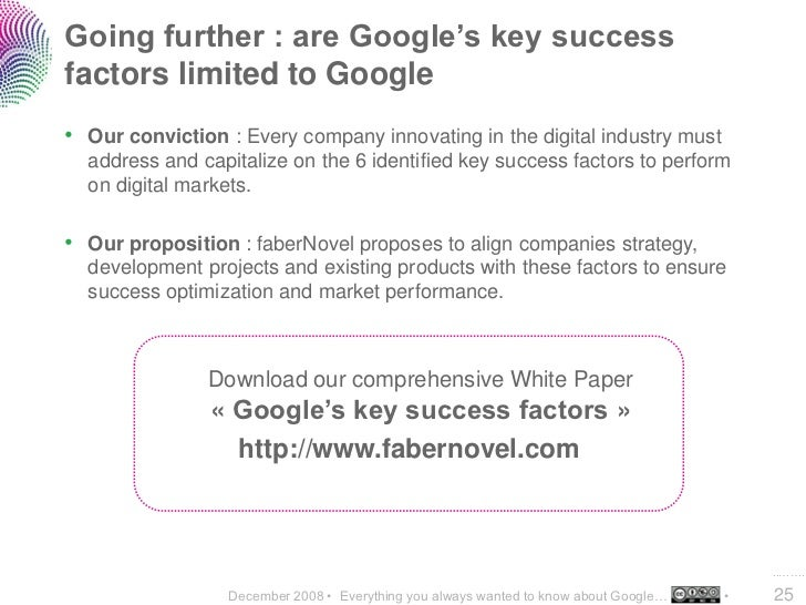 Going further : are Google's key success factors limited to Google • Our conviction : Every company innovating in the digi...