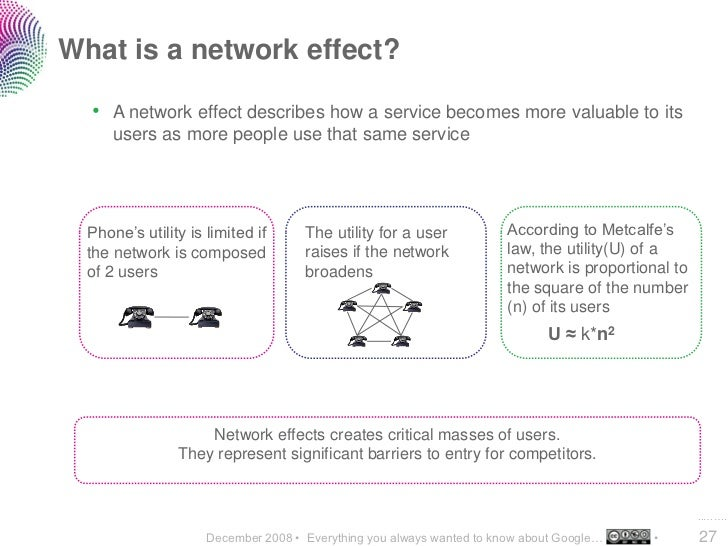 What is a network effect?    • A network effect describes how a service becomes more valuable to its       users as more p...