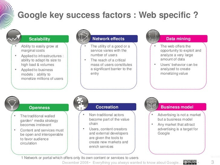 Google key success factors : Web specific ?           Scalability                            Network effects              ...