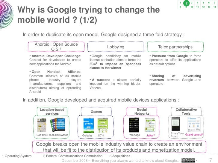 2           Why is Google trying to change the          mobile world ? (1/2)             In order to duplicate its open mo...
