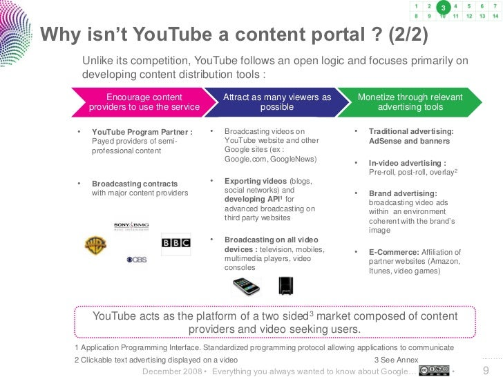 3    Why isn't YouTube a content portal ? (2/2)         Unlike its competition, YouTube follows an open logic and focuses ...