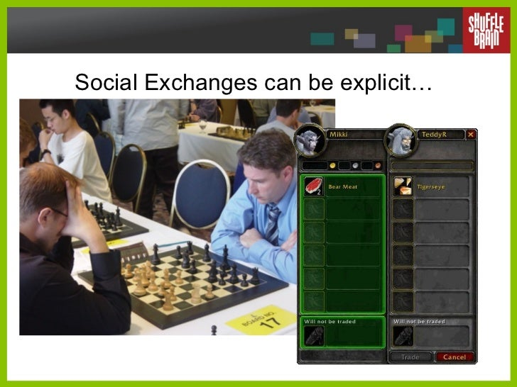 Social Exchanges can be explicit…