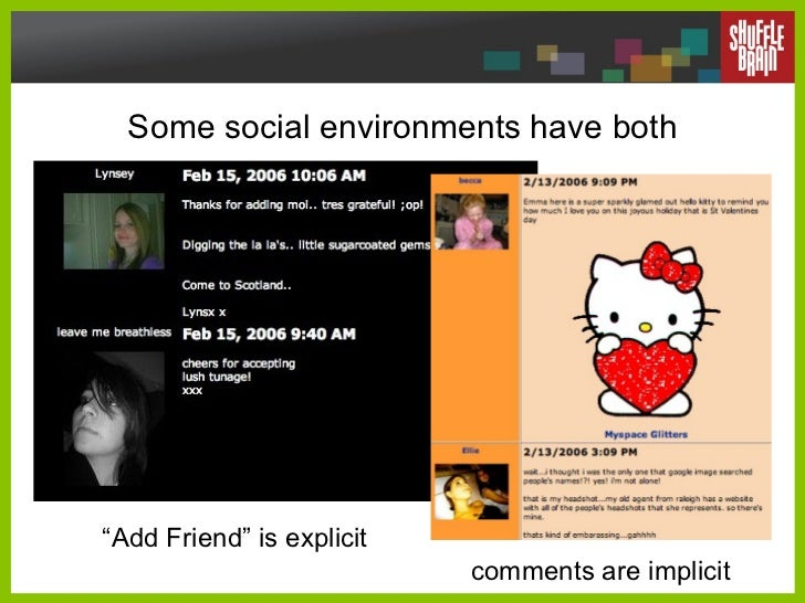 """Some social environments have both comments are implicit """" Add Friend"""" is explicit"""