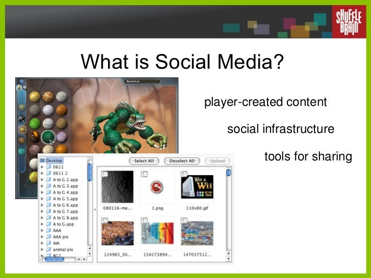 What is Social Media? player-created content social infrastructure tools for sharing