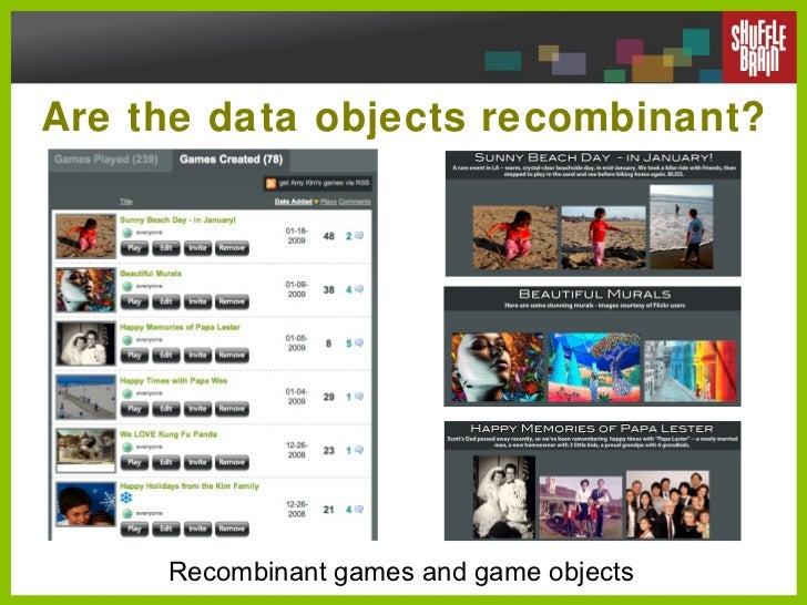 Are the data objects recombinant? Recombinant games and game objects