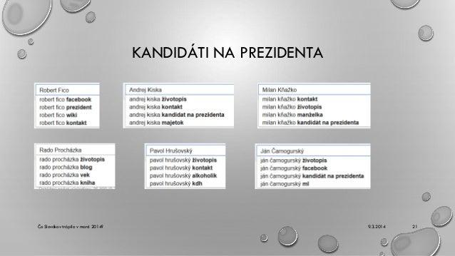 KANDIDÁTI NA PREZIDENTA  Čo Slovákov trápilo v marci 2014?  9.3.2014  21