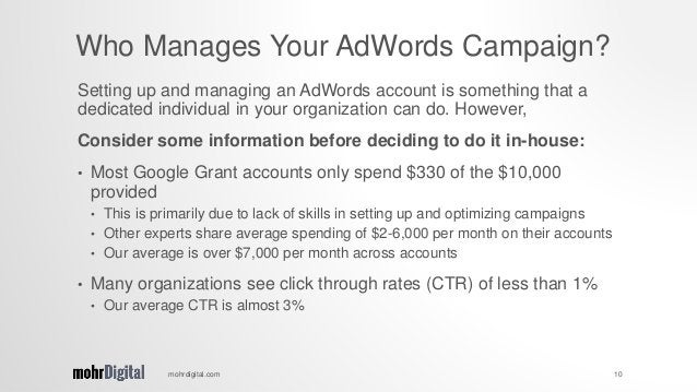 Setting up and managing an AdWords account is something that a dedicated individual in your organization can do. However, ...
