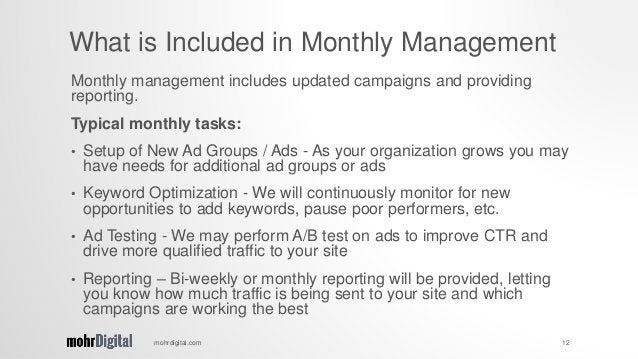 Monthly management includes updated campaigns and providing reporting. Typical monthly tasks: • Setup of New Ad Groups / A...