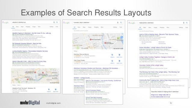 mohrdigital.com 5 Examples of Search Results Layouts