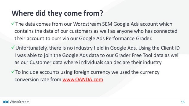 15 Where did they come from? ✓The data comes from our Wordstream SEM Google Ads account which contains the data of our cus...