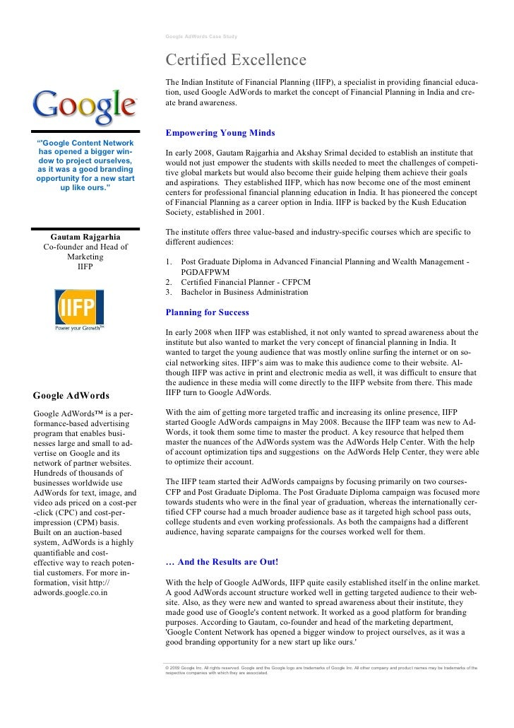Google AdWords Case Study                                 Certified Excellence                                 The Indian ...