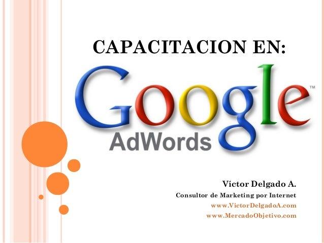 CAPACITACION EN:Víctor Delgado A.Consultor de Marketing por Internetwww.VictorDelgadoA.comwww.MercadoObjetivo.com