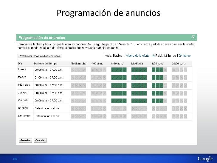 Programación de anuncios 108
