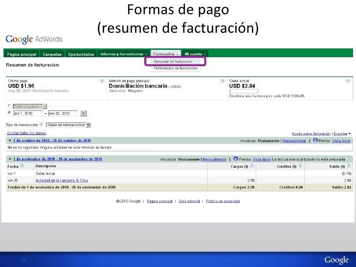 Formas de pago           (resumen de facturación) 21