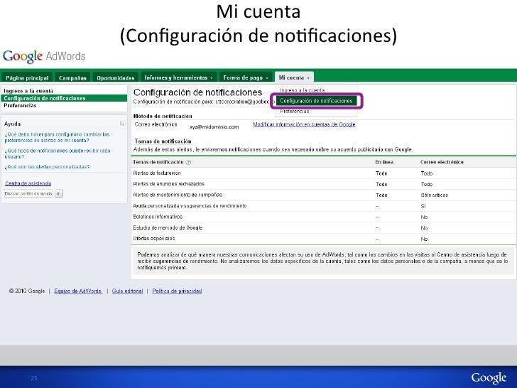 Mi cuenta           (Configuración de noHficaciones)                   xyz@midominio.com 25