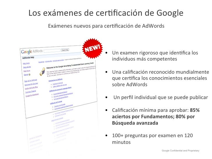 Los exámenes de cerHficación de Google        Exámenes nuevos para cerHficación de AdWords        ...